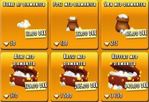 Køb virtuelle diamanter i Hay Day