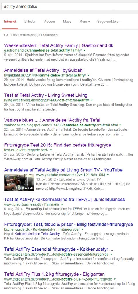 """Google resultater på søgningen """"actifry anmeldelse"""""""