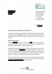 Brevet fra advokatfirmaet Opus